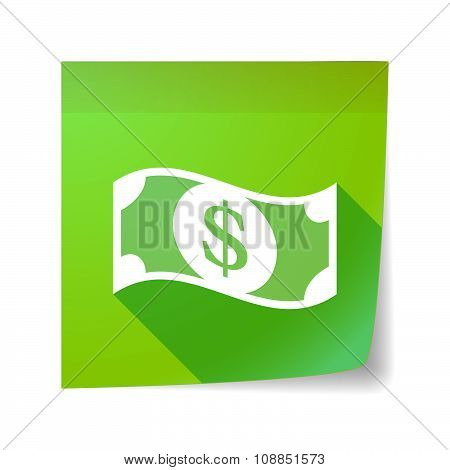 Long Shadow Vector Sticky Note Icon With A Dollar Bank Note