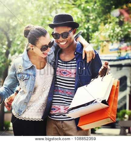 Couple Shopping Outdoors Store Lifestyle Concept