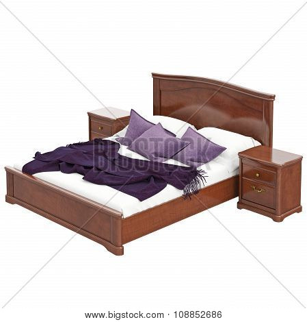 Double bed with bedside tables