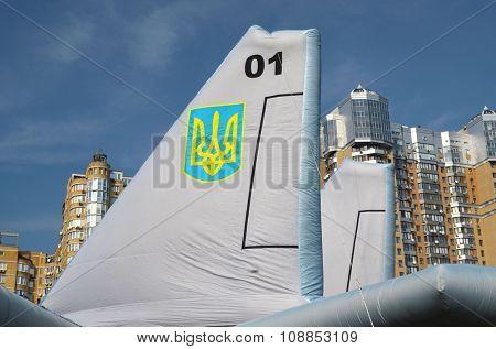 KIEV, UKRAINE - September 23, 2015: Ukrainian military jet imitation.Balloon