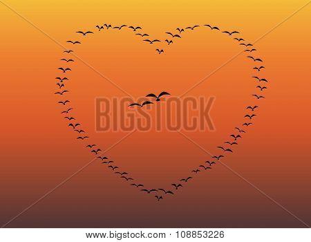 Flock Of Birds Flying Heart