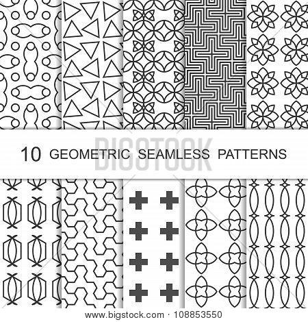 Seamless Geometric Pattern Set. Ten Tiled Ornaments. Vector