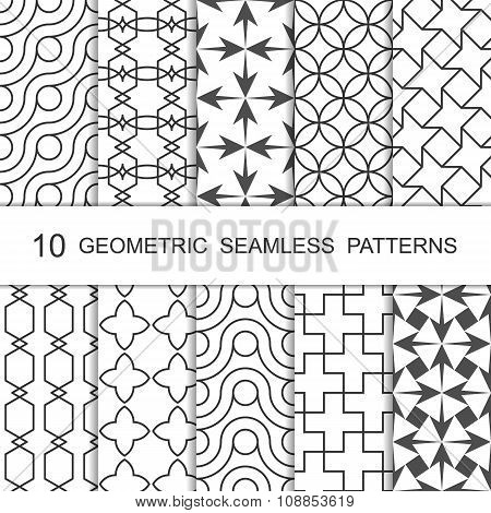 Seamless Geometric Pattern Set. Ten Tiled Ornaments. Vector