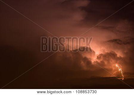 Dark Sky With Lightning Striking