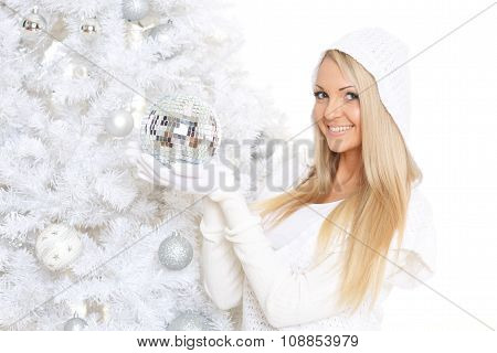 Young  Woman In Winter Clothes. Christmas.