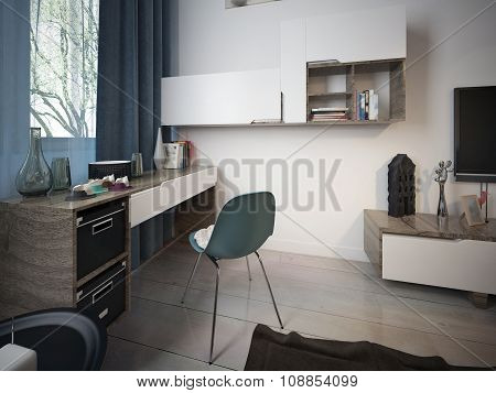 Work Area In The Room, Modern Style