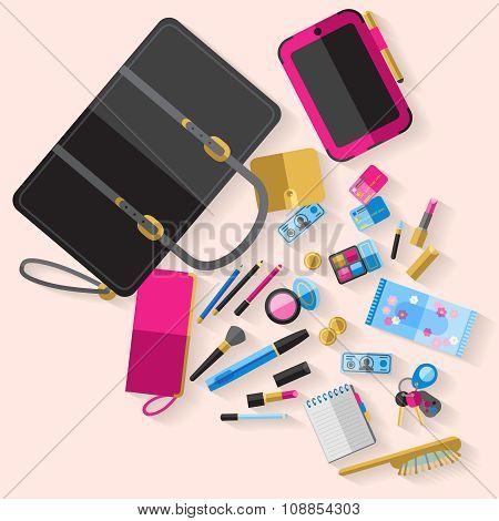 Woman open handbag content flat poster