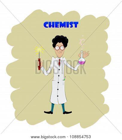 Fun Cartoon Chemist Making Analysis Of Liquid Substance