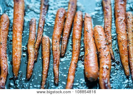 Glazed Carrots On The Baking Tray