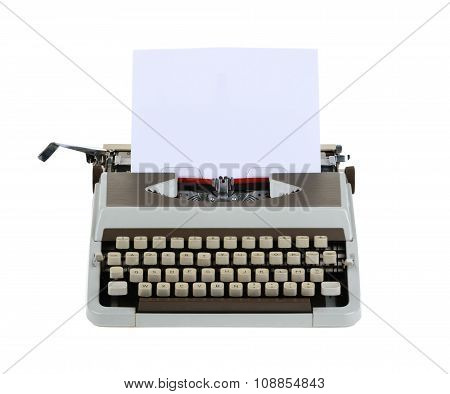 Typewriter With Sheet Of Paper Isolated On White Background.whithout Shadow