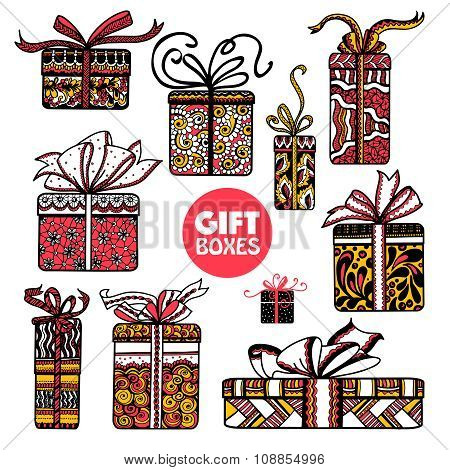 Holiday presents boxes set color doodle