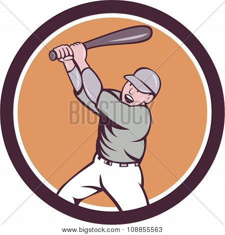 American Baseball Player Batting Homer Circle Cartoon