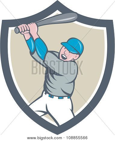 American Baseball Player Batting Homer Crest Cartoon