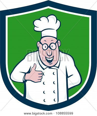 Chef Cook Thumbs Up Crest Cartoon