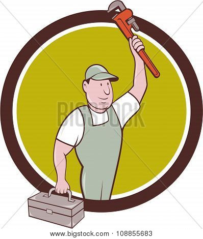 Plumber Toolbox Raising Monkey Wrench Circle Cartoon