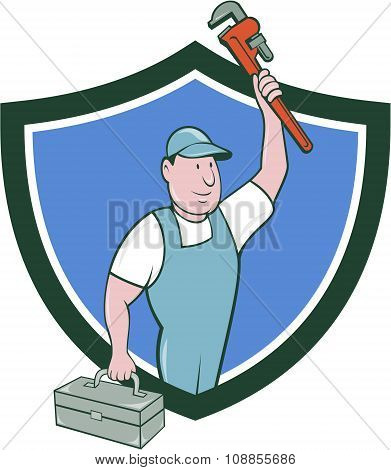 Plumber Toolbox Raising Monkey Wrench Crest Cartoon