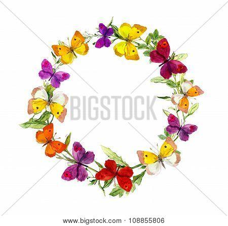 Butterflies, herbs, meadow flowers. Wreath border frame. Watercolor