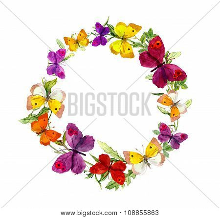 Wreath border frame with butterflies, herbs, meadow flowers. Watercolor