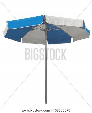 Beach Umbrella With Blue And White Stripes