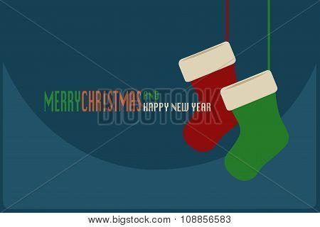 Merry Christmas Card With Christmas Socks Hanging