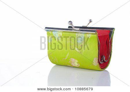 green wallet wide open