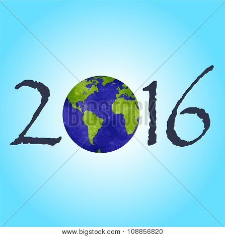 Happy New 2016 Year. Picture With A Planet On It.