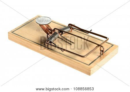 Mousetrap with silver coin as bait isolated over white background