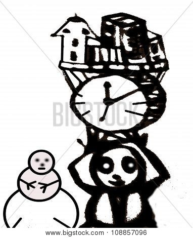 Retro poster Snowman
