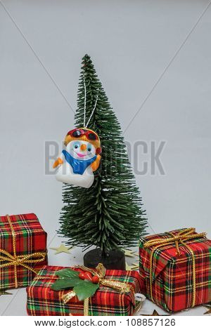 Snowman In Christmas Tree