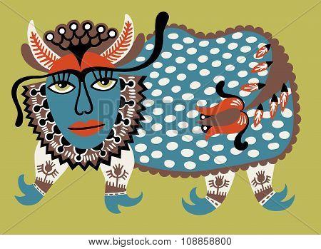 Fantasy animal. Ukrainian traditional painting. Karakoko style