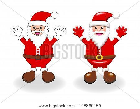Two Vector Styles Of Santa Clause