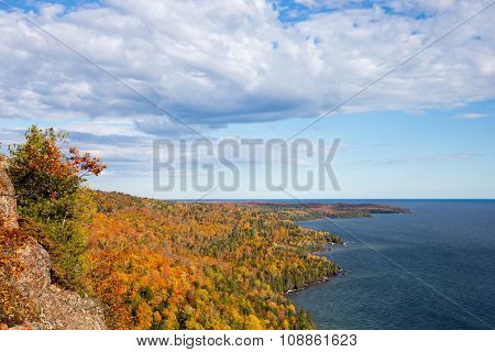 Colorful Lake Superior Shoreline With Dramatic Sky