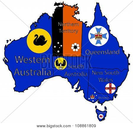 Australia Territory Outlines And Flags