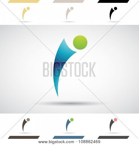 Design Concept of Colorful Stock Icons and Shapes of Letter I, Vector Illustration