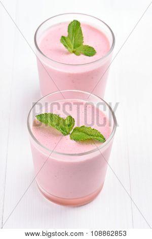 Berries Milkshake Decorated With Mint