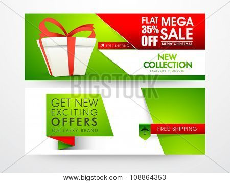 Mega Sale website header or banner set with flat discount offer on occasion of Merry Christmas celebration.