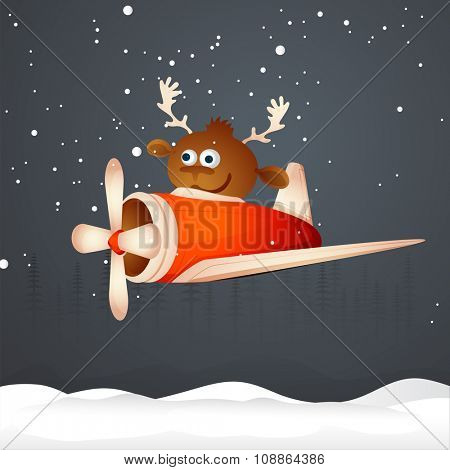 Cute reindeer flying plane on winter background for Merry Christmas celebration.