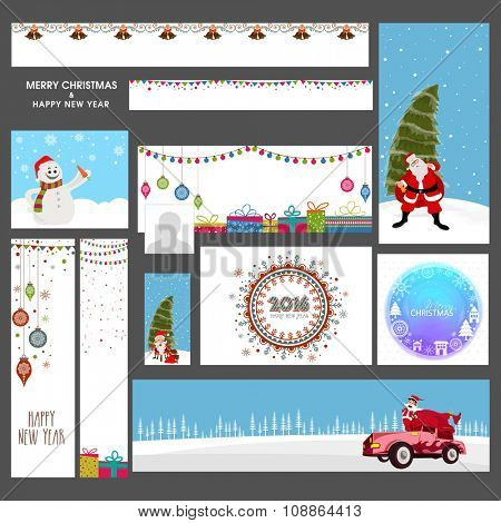 Creative social media ads, post, headers or banners for Merry Christmas and Happy New Year celebration.