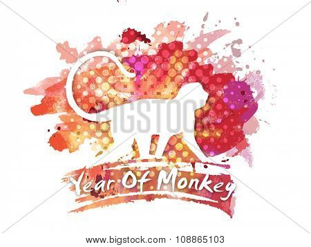 White illustration of a Monkey on colorful abstract background for Chinese New Year celebration.