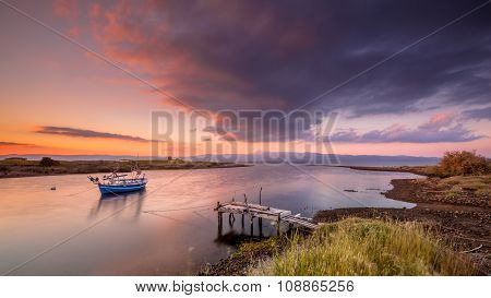 Fishing Boat River Mouth