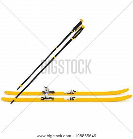 Sports skiing orange, ski poles