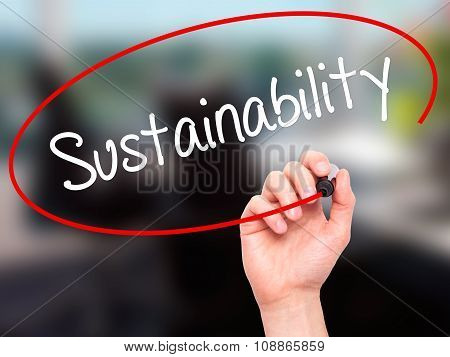 Man Hand writing Sustainability with marker on visual screen.