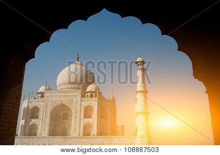 Taj Mahal view behind arch,Agra,Uttar Pradesh,India