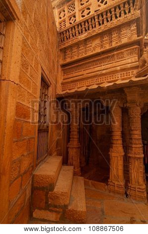 Carved walls and doors of Jaisalmer Fort, Rajasthan, India