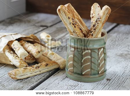 Puff Pastry Sticks With Sesame, Flax And Sunflower Seeds