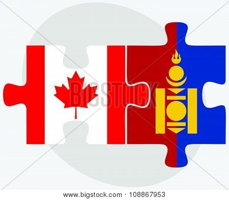 Canada And Mongolia Flags