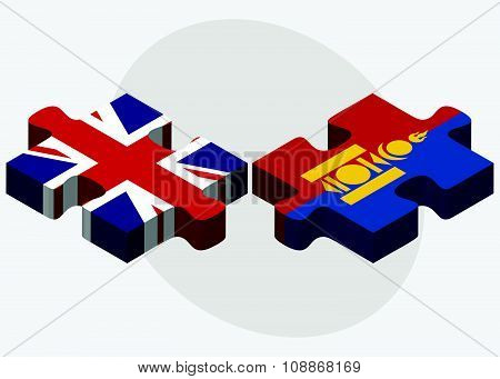 United Kingdom And Mongolia Flags
