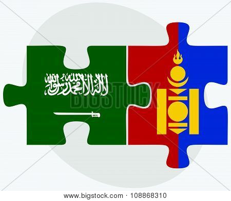 Saudi Arabia And Mongolia Flags