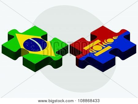 Brazil And Mongolia Flags
