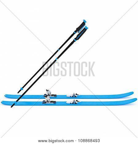 Sports skiing blue, ski poles